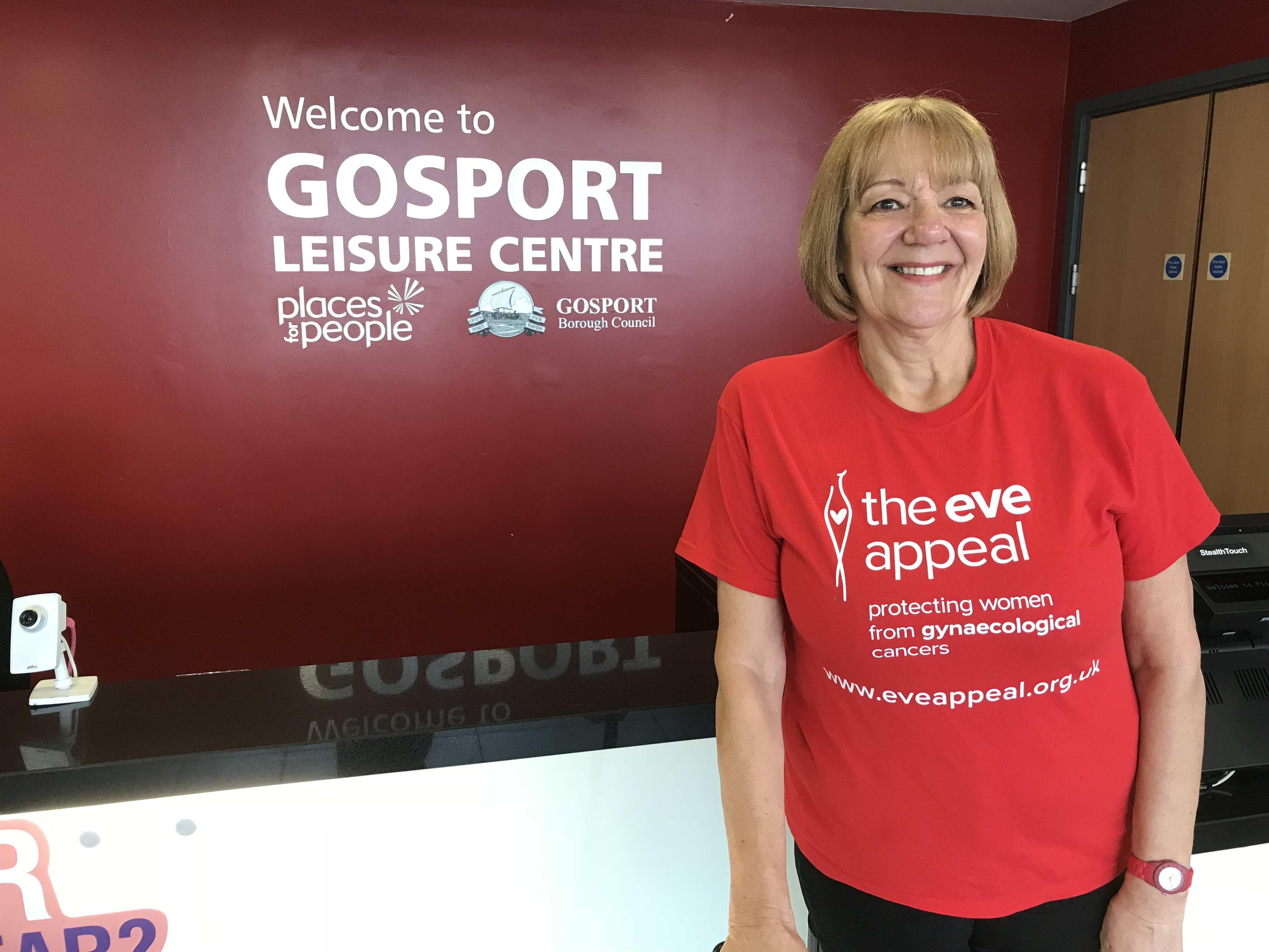 gill standing in front of gosport leisure centre sign